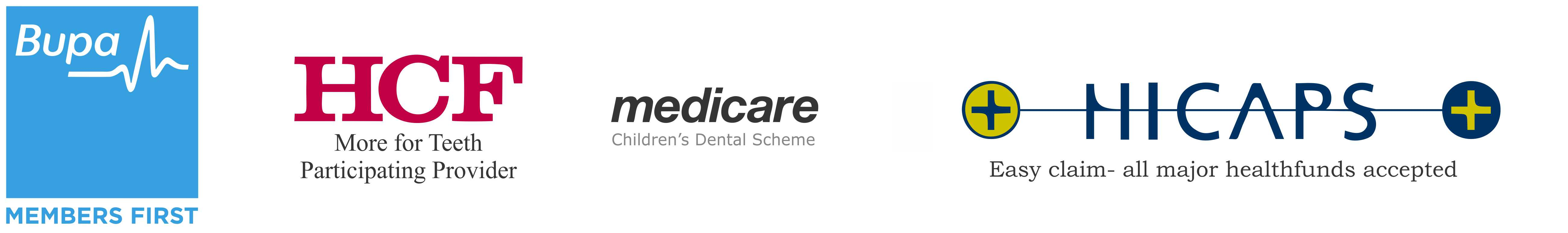 dentist for bupa members first and hcf more for teeth. medicare kids.